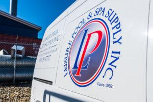 Leisure Pool & Spa Supply Logo on Service Vehicle - Since 1982