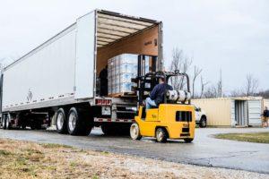 Tim Yoder Unloading Pallets of Sodium Hypochlorite - Liquid Chlorine, Bulk Pool Supplies